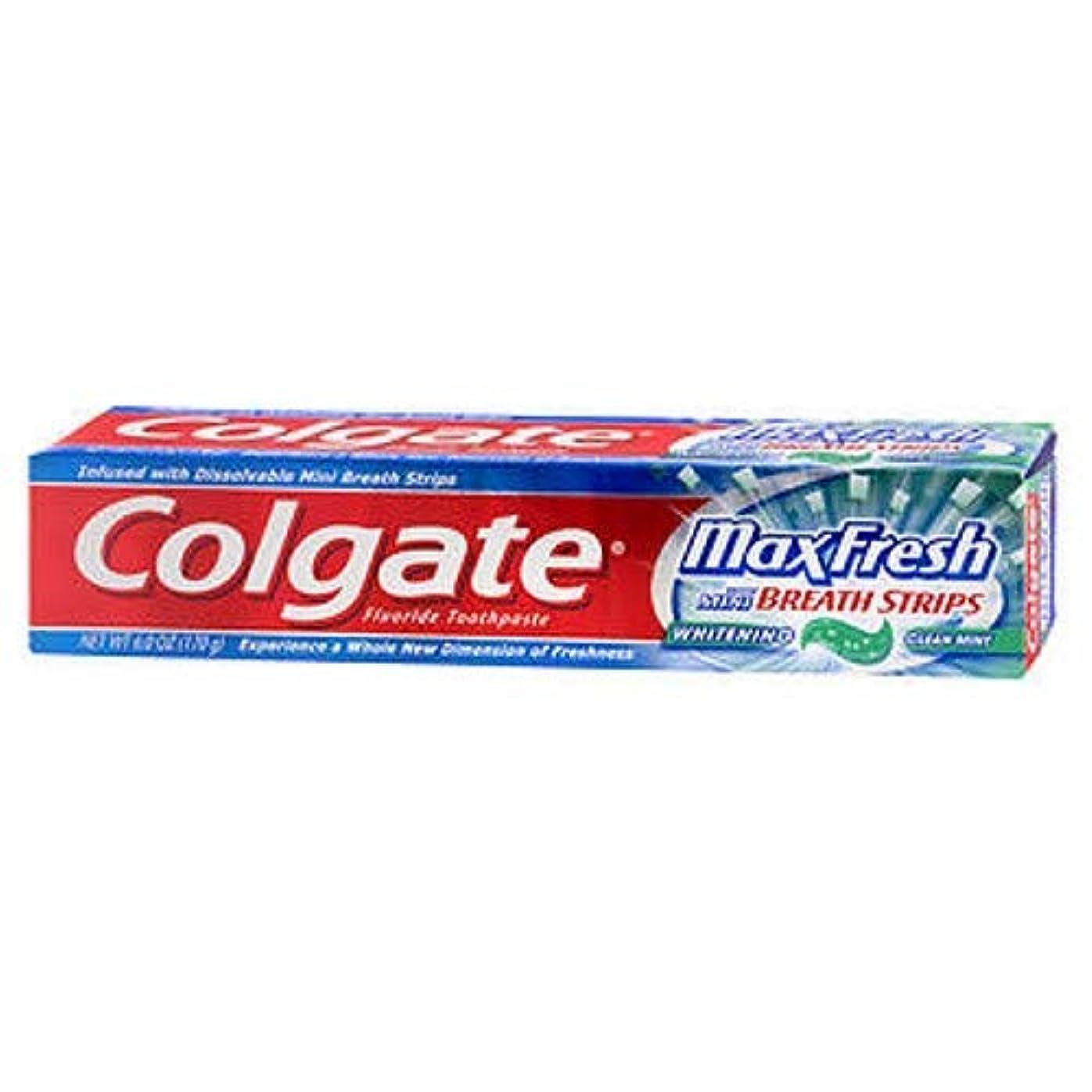ルール楽な測るColgate ホワイトニングブレスストリップクリーンミントハミガキ6.0オンスでMaxfresh(2パック)