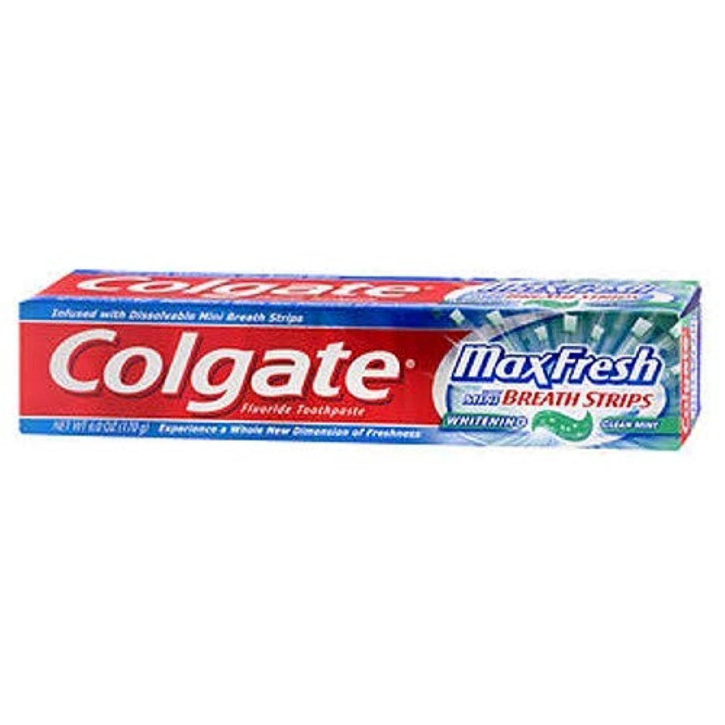 小道具市区町村降伏Colgate ホワイトニングブレスストリップクリーンミントハミガキ6.0オンスでMaxfresh(2パック)