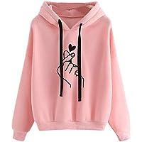 SERAPHY Women's Sweet Cute Finger Heart Hoodie Love You Hip Hop Hooded Sweatshirts Long Sleeve Pullover Tops Gift