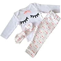 Yilaku Baby Girl Clothes Set Tops + Headband + Pants Cute Eyelash Newborn Girls Outfits Clothing