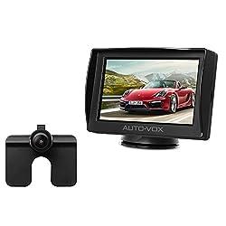 AUTO-VOX M1 2系統の映像入力 12V車用 4.3インチ ミニオンダッシュ液晶モニター 防水バックカメラセット 暗視機能付き 駐車支援システム 取り付け簡単 (4.3インチ)