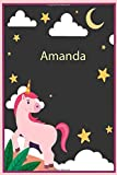 Amanda: Personalized Unicorn Sketchbook For Girls &kids With Name - 6x9 120 Pages.Birthday gift idea.: Unicorn Notebook, Diary for writing &note Journal Gift, Soft Cover, Matte Finish