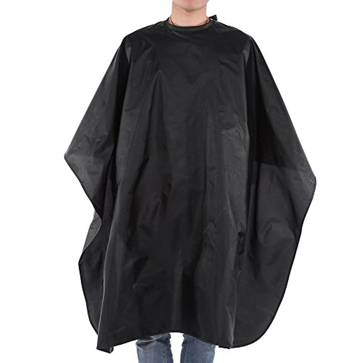 パイル文字ぐるぐる理容室スタイリングケープ、ブラックサロンヘアカット理髪理髪店ケープガウン大人の布防水スナップクロージャー59×47インチ