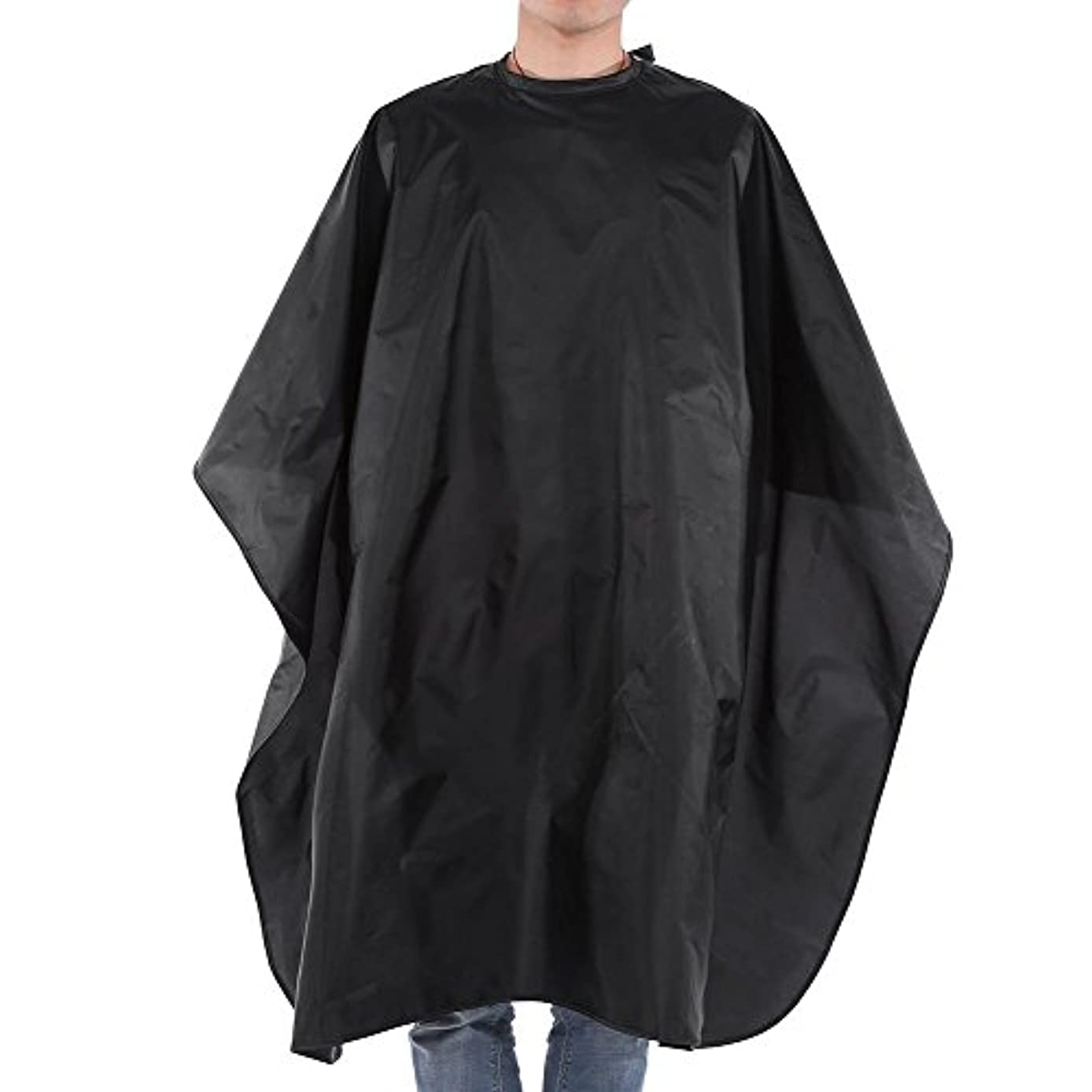 いらいらする市場イヤホン理容室スタイリングケープ、ブラックサロンヘアカット理髪理髪店ケープガウン大人の布防水スナップクロージャー59×47インチ