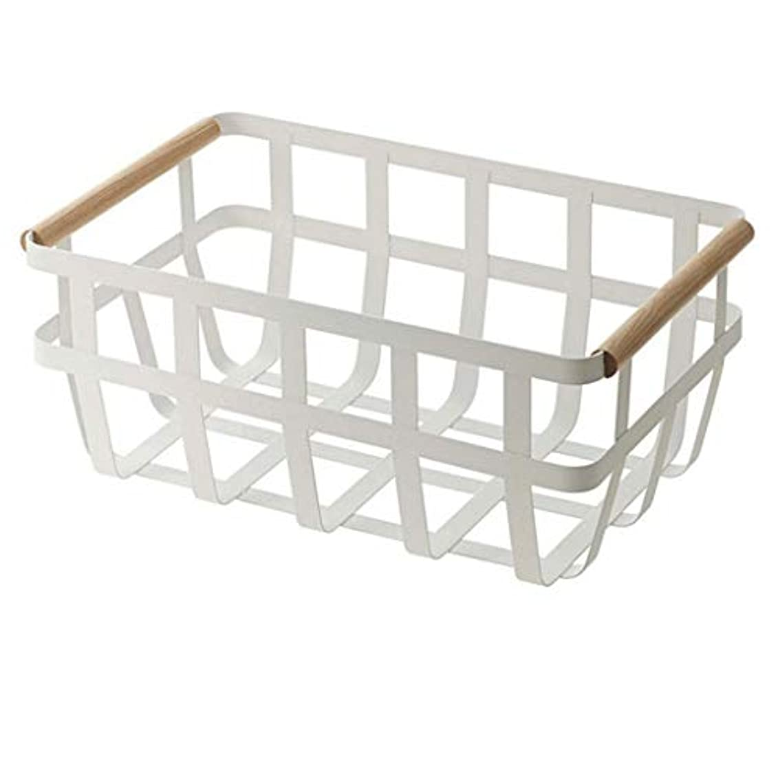 スムーズにホステル兄SMMRB 鍛鉄製のスナック収納バスケット大型収納ボックスシンプルな食料品収納ボックスデスクトップブック仕上げ収納バスケット、白