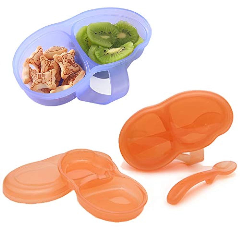 ベビーボウル給餌セット、ベビーボウル子供の運動食器、子供用食器、ポッドランチボックス、柔らかいチップのベビースプーン、安全カバー漏れ防止、多機能ダブルコンパートメントのランチボックス、食品補給ボウルボックスの食品 安全材料グリーン/レッド/ブルー (オレンジ)