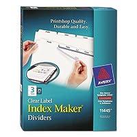 インデックスメーカークリアラベルディバイダー、3-tab、文字、ホワイト、25セット、合計150ea , Sold as 1カートン