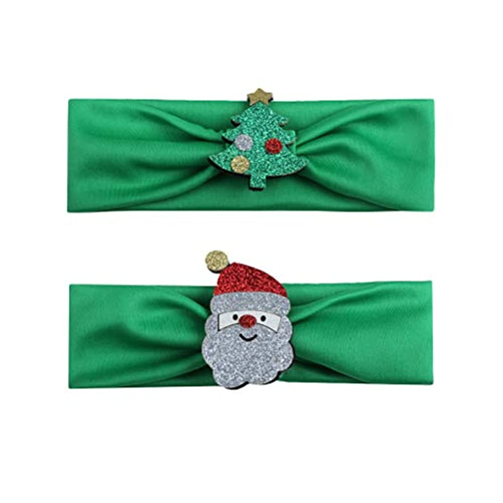配当神社飼い慣らすBESTOYARD 2本の赤ちゃんの少女クリスマスのヘッドバンド、クリスマスツリーサンタクロースの幼児ヘアバンドアクセサリー(グリーン)