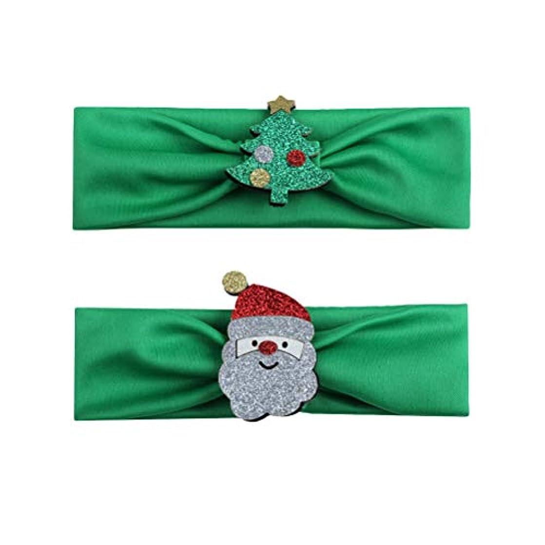 充実質素なゲストBESTOYARD 2本の赤ちゃんの少女クリスマスのヘッドバンド、クリスマスツリーサンタクロースの幼児ヘアバンドアクセサリー(グリーン)