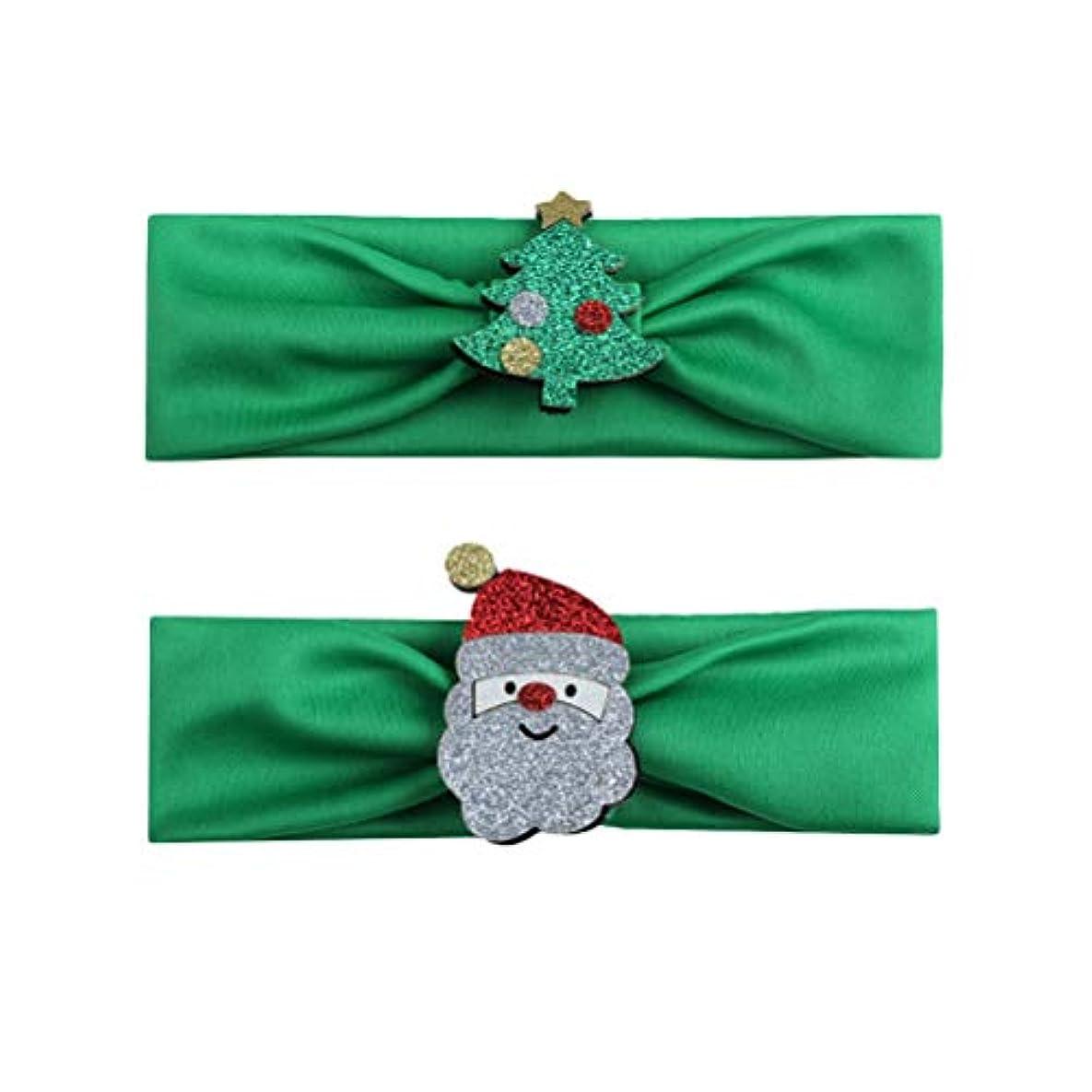 繊毛外側牛肉BESTOYARD 2本の赤ちゃんの少女クリスマスのヘッドバンド、クリスマスツリーサンタクロースの幼児ヘアバンドアクセサリー(グリーン)