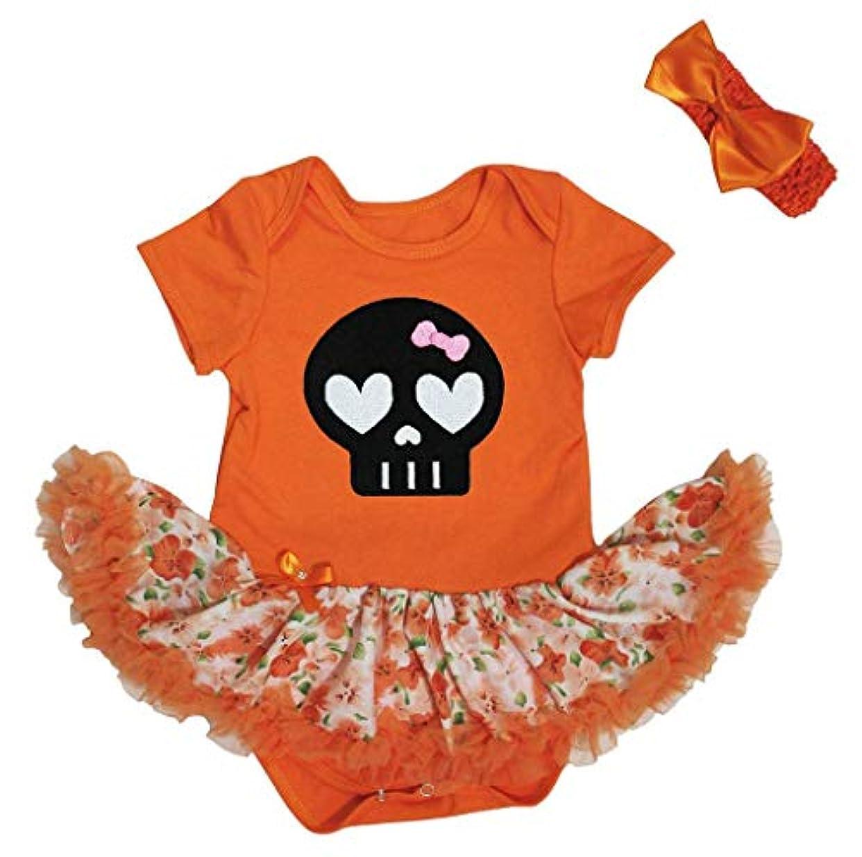 どう?犠牲首[キッズコーナー] ハロウィン 可愛い スケルトン オレンジ ボディスーツ ドレス ベビー服 子供チュチュ Nb-18m (オレンジ, Large) [並行輸入品]