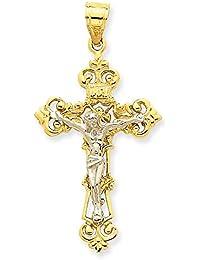 ソリッド14 KツートンINRI Fleur De Lis十字架ペンダント47 x 23 mm