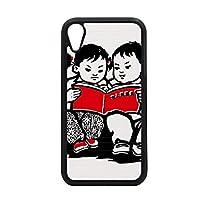 男の子の女の子のベンチの本の中国の愛国心 iPhone XR アップルフォンケース