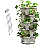 Mr Stacky Australia - Medium 5 Tier Stacking Planter Vertical Garden (33cm Width planters) (Stone) Ideal for Growing Herbs an