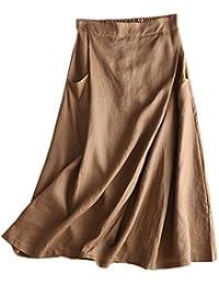 IXIMO レディース リネン スカート ロング丈 無地 ウェストゴム Aライン プリーツ入り きれいめ ポケット付き カジュアル スカート 3色展開