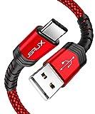 JSAUX USB Type C ケーブル【2m 一本入り】超高耐久ナイロン編み 万回以上の折り曲 USB C 2.4A急速充電 480Mb/s高速データ転送 QuickCharge3.0対応 56Kレジスタ使用 Samsung Galaxy Note10/9/8/S8/S8+/S9/S9+、LG G5/G6/V20/V30、Sony Xperia XZ/XZs/X Compact、Google Pixel 2 XL、Nexus 5X/6P、Huawei P9、Nintendo Switch などのType-C機器対応 (赤)