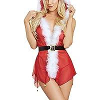 Ausexy Women Christmas Small Bell Lingerie Suit Hooded Plus Size Sexy Muslin Underwear Nightdress Sleepwear