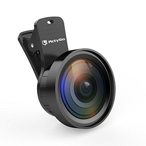 ActyGo (高品質HD0.45x広角レンズ+12.5xマクロレンズセット) 正規品 セルカレンズ クリップ式レンズ スマ...