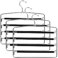 Henguハンガーズボン用 滑り止め ハンガースカート用 ステンレスハンガー 4段/360℃回転 衣類収納/錆びにくい 3本組