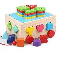 Lewo 木製スタックソート バス クラシック プッシュプル トラック 玩具 教育 幼稚園形状 色認識 幾何学パズル おもちゃ 幼児用