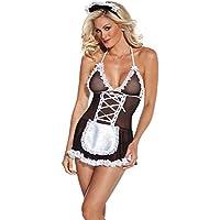 DishyKooker Women Sexy Maid Lingerie Neck Strap Slim Body Sexy Mini Dress + Headband + T-Back