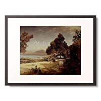 オズワルド・アッヘンバッハ Achenbach, Andreas 「Golf von Neapel. 1885.」 額装アート作品