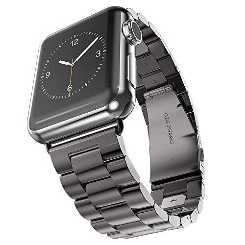 FC-工場 Apple Watch 用 金属ベルト ステンレス留め金製 42mm ステンレス アップルウォッチ ベルト ビジネス風 時計バンド アップルウォッチ バンド 腕時計ストラップ バンド調整 Apple Watch series 1 series 2 series 3 対応 42mm ブラック