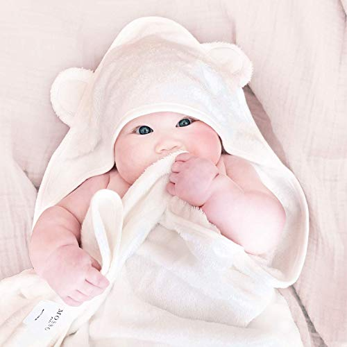 Mosso Baby   Bamboo Hooded Baby Towel - Luxuriously Soft, Premium Organic Bamboo, Extra Absorbent, Generous 90x90cm Size for Baby & Toddlers