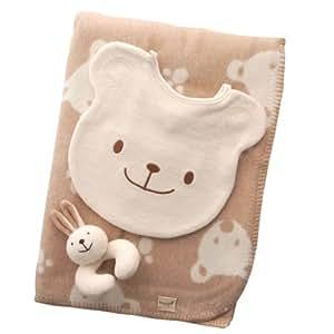 オーガニックコットン ベアー綿毛布クウォーター75x100ベビーセット:スタイくまとウサギのがらがらが付いたセットです!