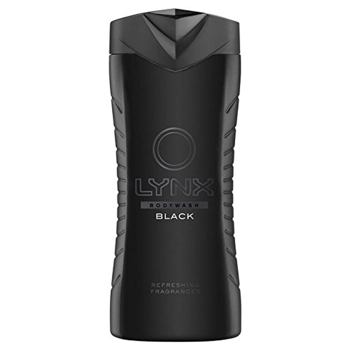無知ひどい船員オオヤマネコブラックシャワージェル400ミリリットル x4 - Lynx Black Shower Gel 400ml (Pack of 4) [並行輸入品]