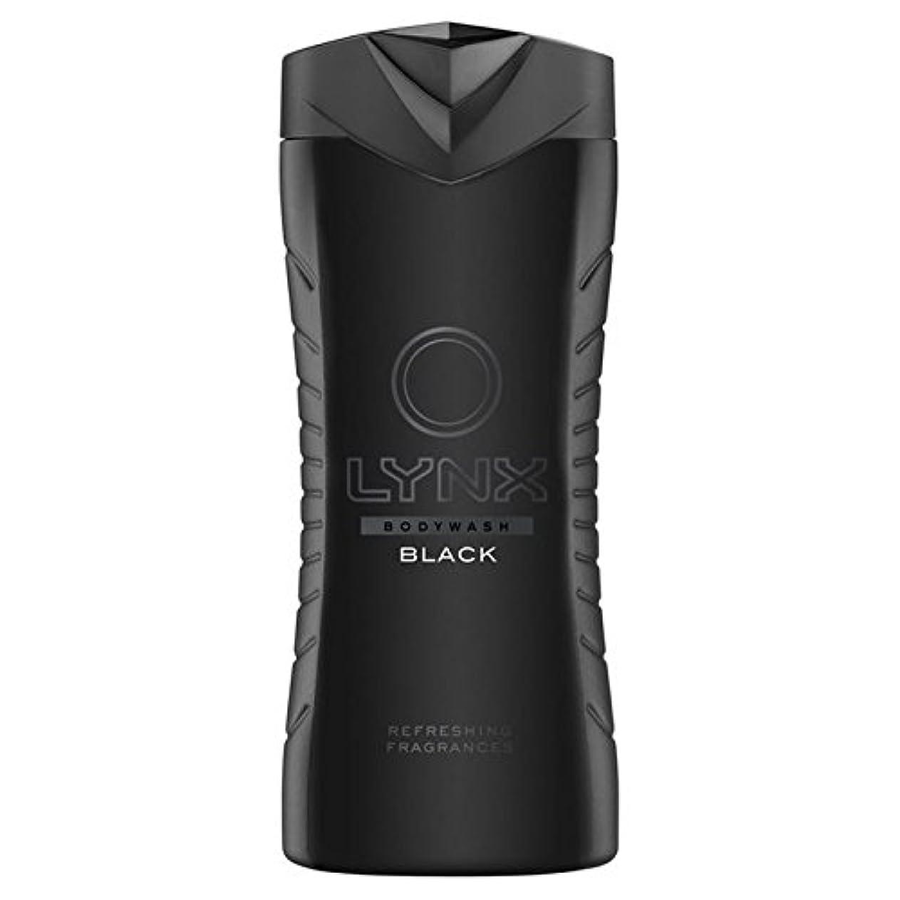 湖エーカー不振オオヤマネコブラックシャワージェル400ミリリットル x2 - Lynx Black Shower Gel 400ml (Pack of 2) [並行輸入品]