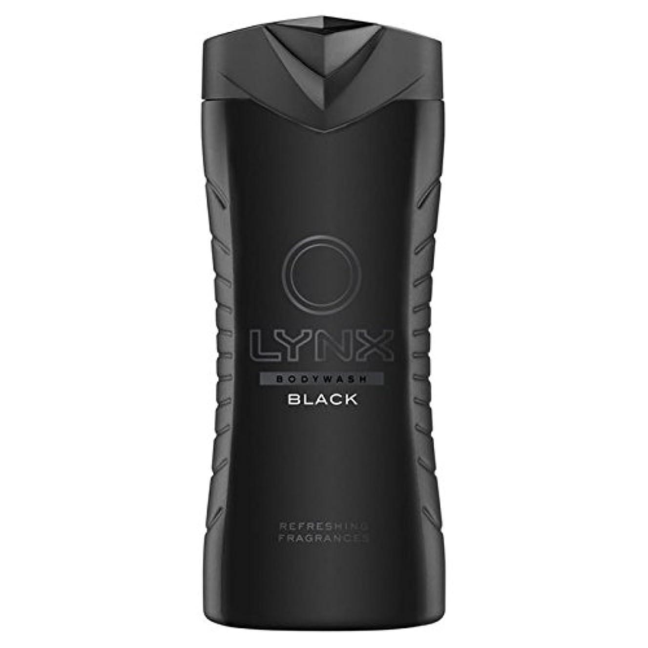 影響海洋好ましいLynx Black Shower Gel 400ml (Pack of 6) - オオヤマネコブラックシャワージェル400ミリリットル x6 [並行輸入品]