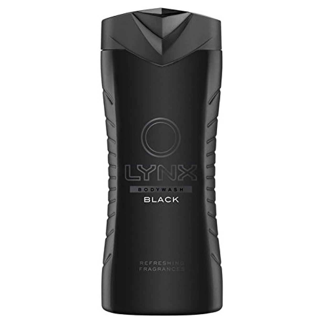 息苦しいヘクタールセットアップオオヤマネコブラックシャワージェル400ミリリットル x4 - Lynx Black Shower Gel 400ml (Pack of 4) [並行輸入品]