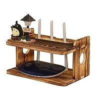 CD・DVDラック ルーター収納ボックスホームリビング多機能セットトップボックスラック卓上鉢植えラック寝室用化粧品収納ボックス (Color : Wood colorA, Size : 29.5*20*16.5CM)