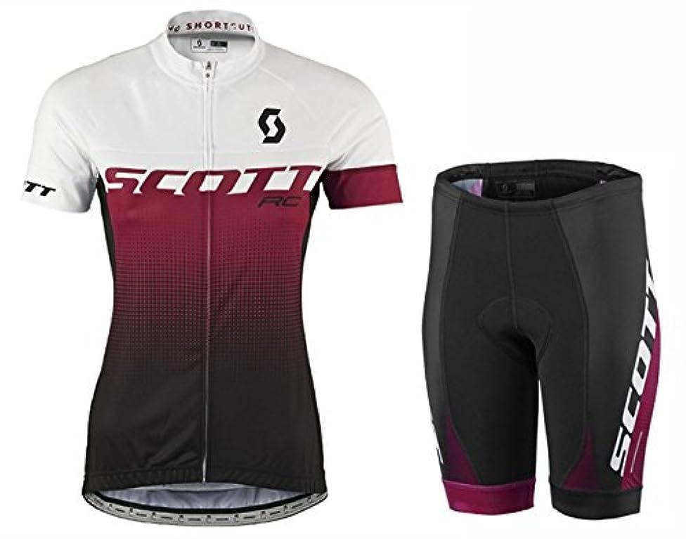 本能安全性着るDOKEA サイクルジャージ上下セット/女性用自転車サイクルウェア半袖/吸汗速乾/通気がいい/春夏用上下セッド