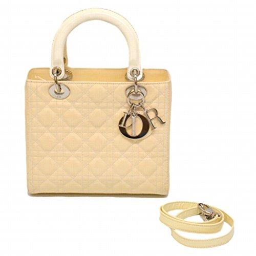 クリスチャン ディオール Christian Dior レディディオール 2WAY ショルダーバッグ カナージュ エナメル オフ ホワイト シルバー金具 中古