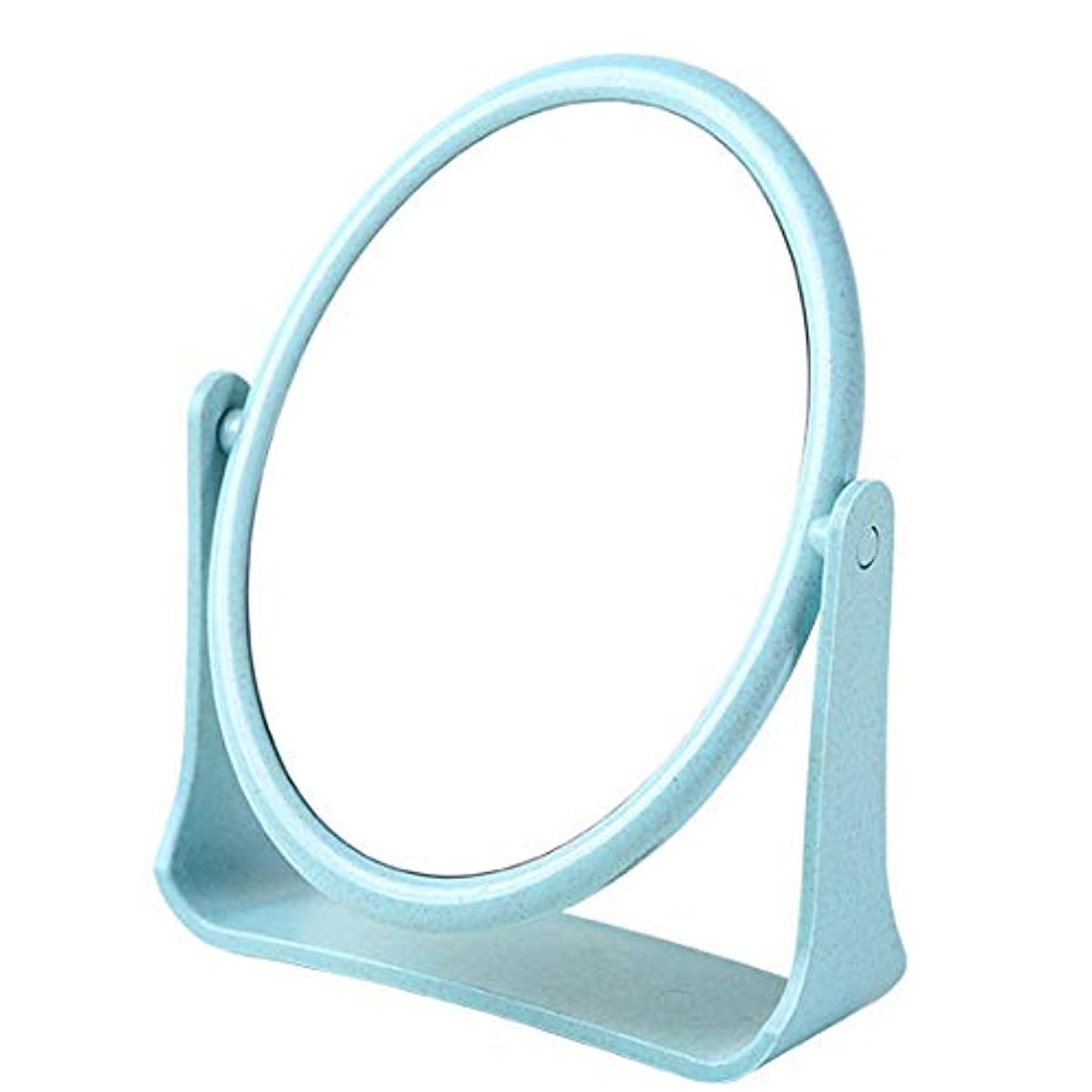 一晩疲労インサート化粧鏡 360度回転 スタンドミラー メイク両面鏡 ポータブル 多角度転換可能円形のカウンタートップ (ブルー)
