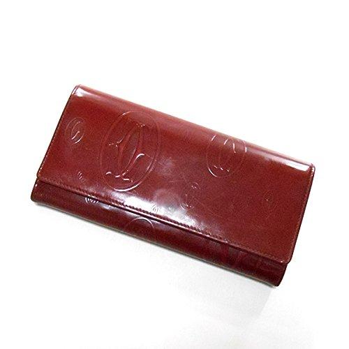 (カルティエ) Cartier マスト柄 型押し ハッピーバースデー 長財布 レッド ボルドー 赤系 エナメル レザー ウォレット
