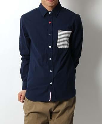 3color ボーダーポケット切替イカリボタンシャツ
