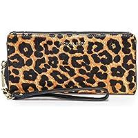 MICHAEL Michael Kors Women's Leopard Print Calf Hair Continental Wristlet Brown