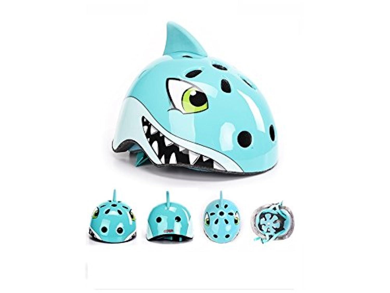 Osize 子供用ヘルメット自転車漫画動物の乗り物ヘルメットスケートヘルメットアウトドアヘルメットローラースキッドヘルメット(ブルーシャーク)