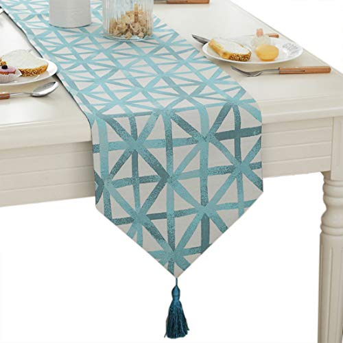 Dewel 洗えるテーブルランナー 欧米風 米字型 おしゃれジャカールペンダント付き