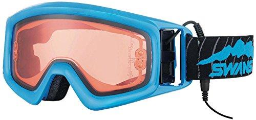 【国産ブランド】SWANS(スワンズ) スキー スノーボード ゴーグル メガネ対応 発熱レンズ ヘリ ブルー×ブラック HELI-XED