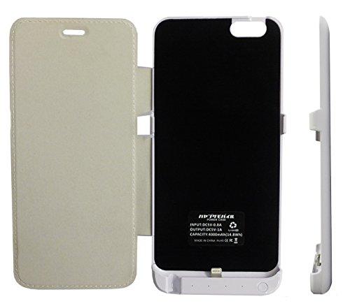 ハヤブサモバイル iPhone6/6S Plus用 大容量4000mAh レザーカバー付き モバイルバッテリー内蔵スリムケース [白][イヤホン延長ケーブルと日本語取扱説明書付]