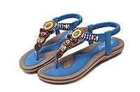 女性ボヘミアスリングサンダル花ビーズヨガフリップフロップフラットシューズスリングバックThong靴 ブルー