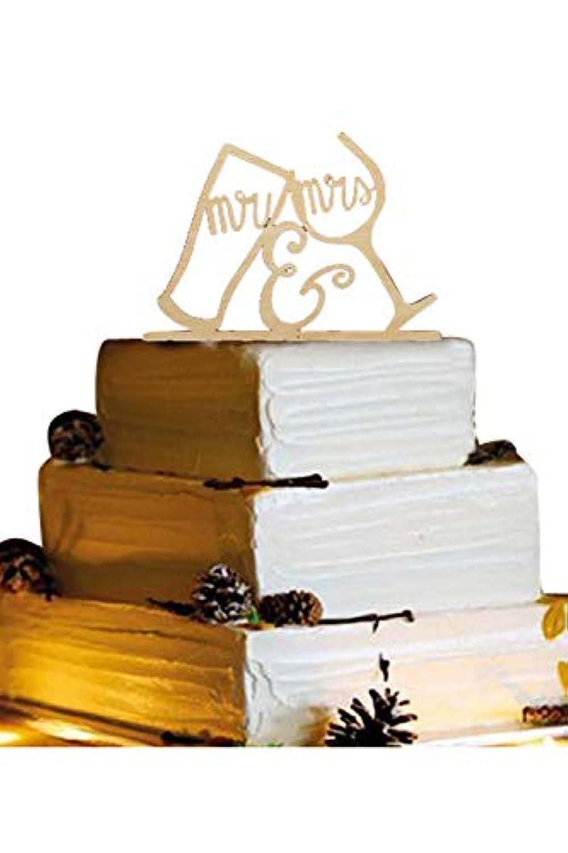 Lumierechat 結婚式 ウェディング ケーキトッパー ウェディングケーキ ケーキ トッパー 飾り 木製 Mr&Mrs デコレーション a-b2544 (K ワイングラス)