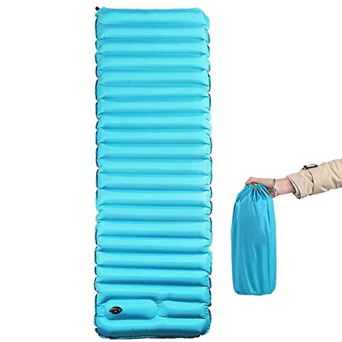 統治する行列対応するインフレータブルスリーピングパッド、テント、ハンモック、キャンプ、ハイキングのための作り付けポンプポータブルマットレス付きの厚いキャンプマット (色 : 青, サイズ さいず : L l)