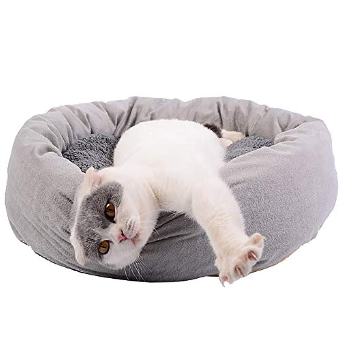 内陸各倍率猫と小型犬用のデラックスペットベッド柔らかいクッションラウンドまたは楕円形のドーナツの入れ子になった洞窟ベッドを備えたカドラー直径55cmの猫と小型犬用のペット猫用ベッド、グレー