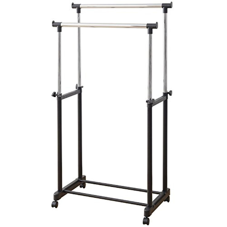 山善 高さ伸縮パイプハンガーラック ダブル 耐荷重15kg ハンガー内寸:75-138cm キャスター付き ブラック MKS-W(BK)(S)