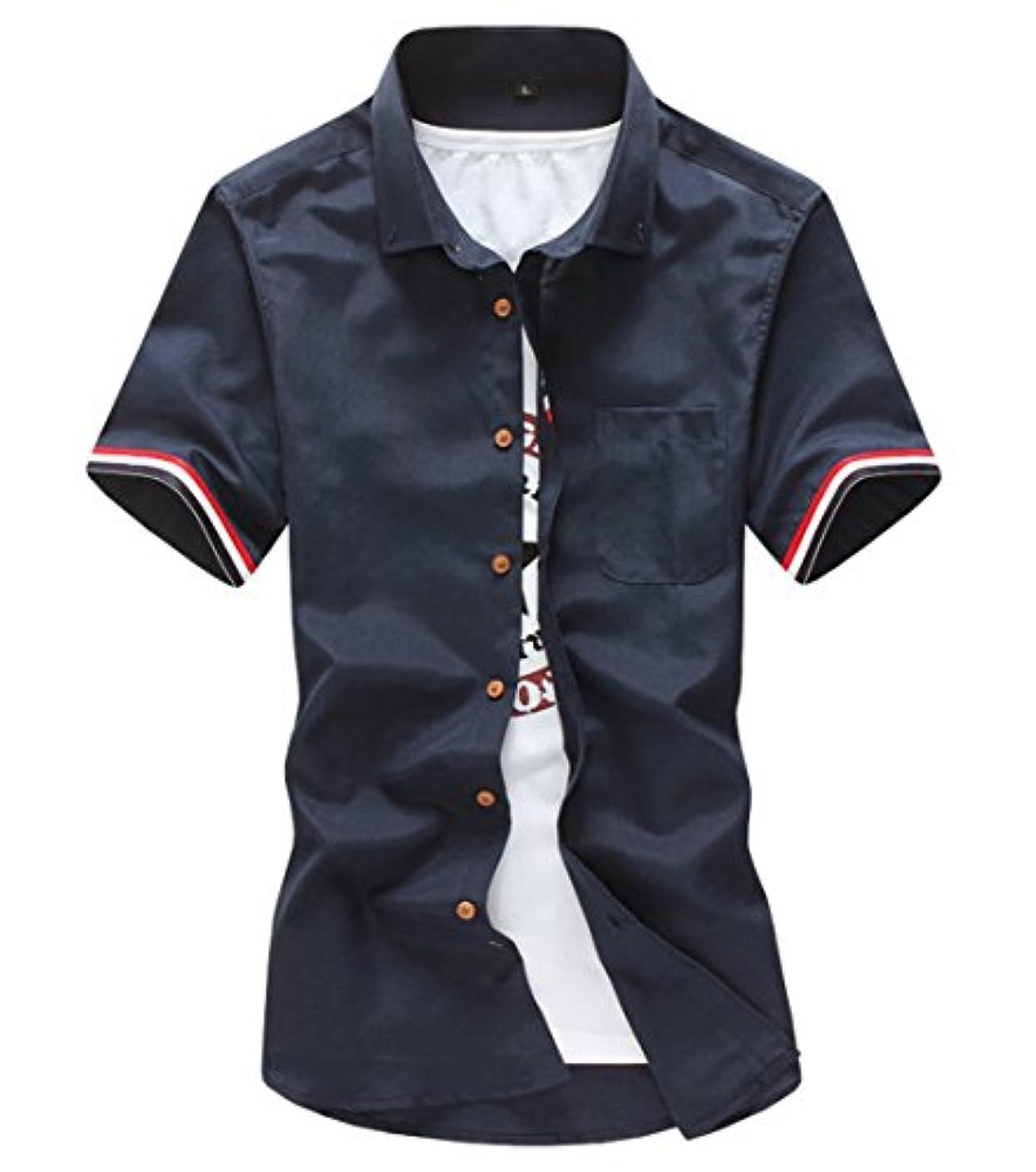 きらめく宿命キャスト[スゴフィ]SGFY  メンズ ポロシャツ ストライプの袖 無地 カジュアル シャツ ゴルフ ウェア (M, ネイビー)